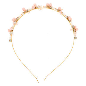 Rose Gold Pearl Bead Cluster Headband,