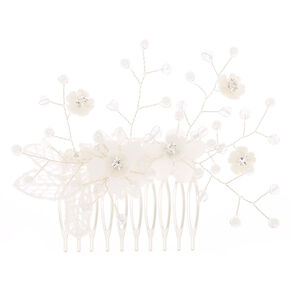 Crochet Flower Hair Comb - White,