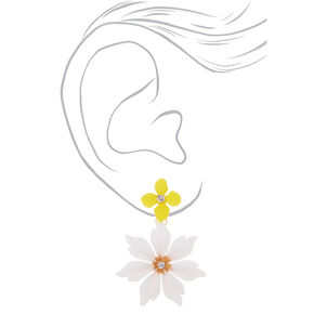 "Gold 2"" White & Yellow Petal Drop Earrings,"