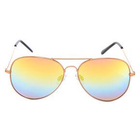 Rose Gold Aviator Sunglasses,