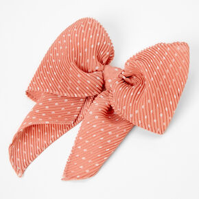 Pleated Polka Dot Hair Bow Clip - Blush,