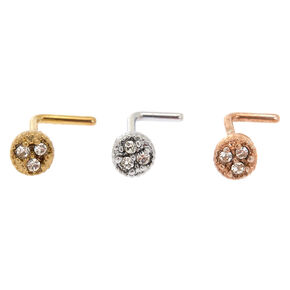 Mixed Metal 20G Triple Crystal Nose Studs - 3 Pack,