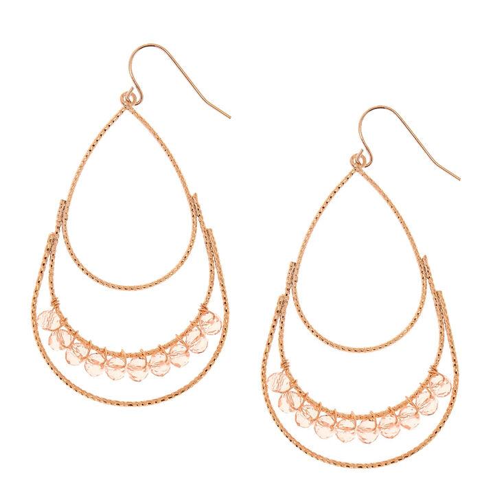Rose Gold Blush Beaded Teardrop Earrings,