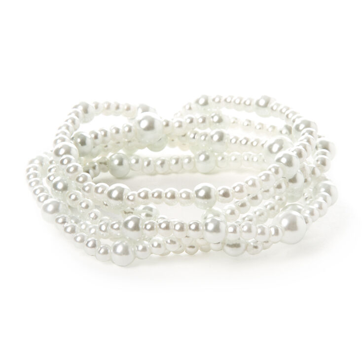 Small & Large White Pearl Stretch Bracelets Set of 5,