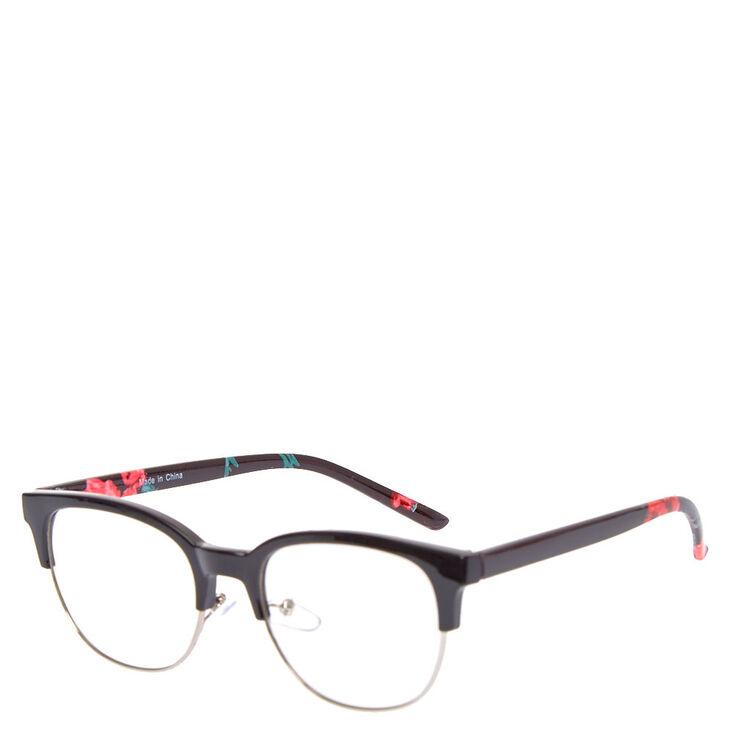 Rose Browline Clear Lens Frames - Black,