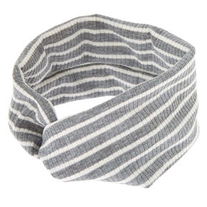 Ribbed Knit Striped Twisted Headwrap - Gray,