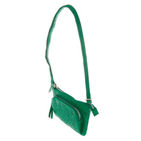 Filigree Cut Perforated Crossbody Bag - Green,