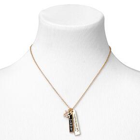 Gold Rectangular Zodiac Pendant Necklace - Aquarius,