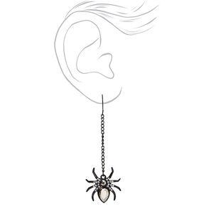 """Spider Gem 2.5"""" Drop Earrings - Black,"""