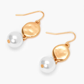 """Gold 2"""" Hammered Disc Pearl Drop Earrings,"""