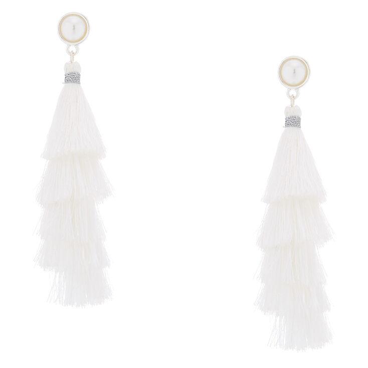 """2.5"""" Tiered Tassel Drop Earrings - White,"""