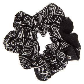 Medium Bandana Hair Scrunchie - Black,