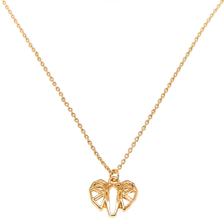 Gold Geometric Elephant Charm Necklace,