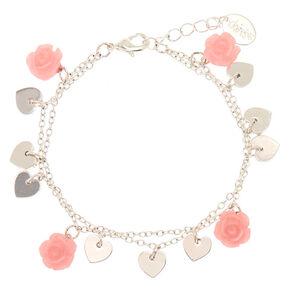 Silver Rose Heart Charm Bracelet - Pink,