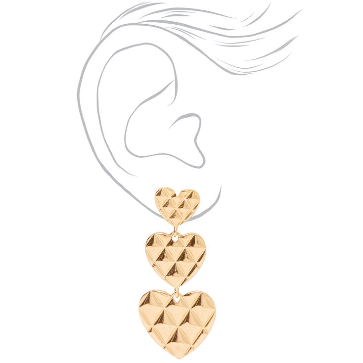 """Gold 2"""" Quilted Hearts Linear Drop Earrings,"""