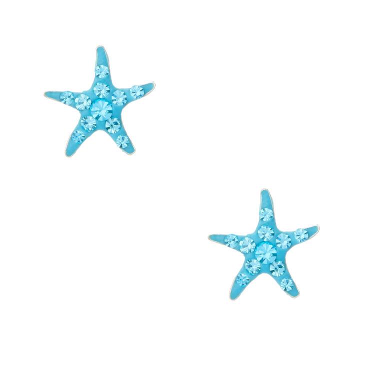 Sterling Silver Crystal Starfish Stud Earrings,