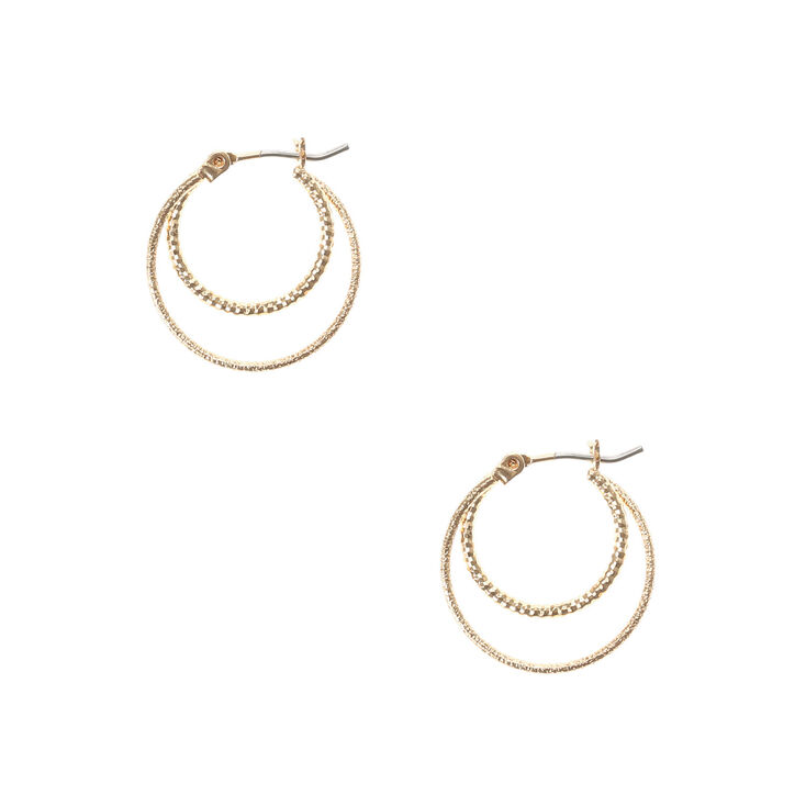 Gold Laser Cut & Hammered Double Circle Hoop Earrings,