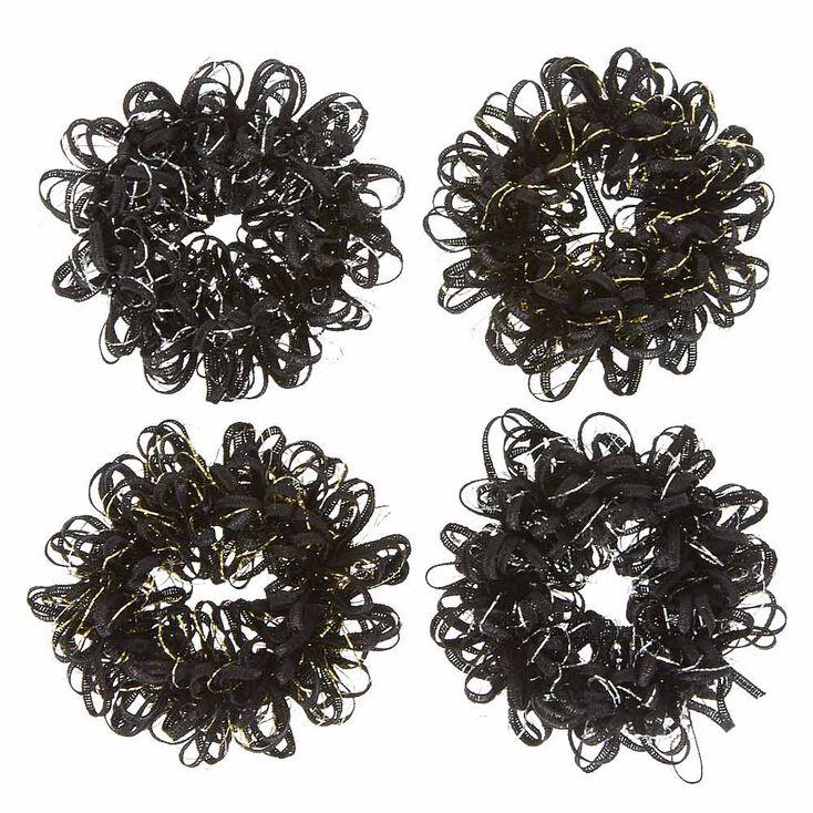 Black Looped Ribbon Hair Scrunchies,