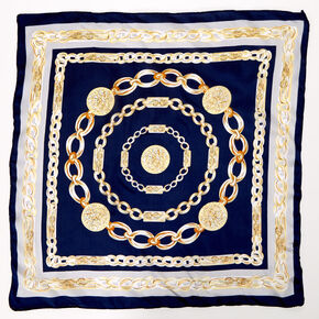 Chain Print Bandana Headwrap - Navy,