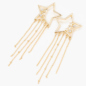 """Gold 3.5"""" Embellished Star Chain Drop Earrings,"""