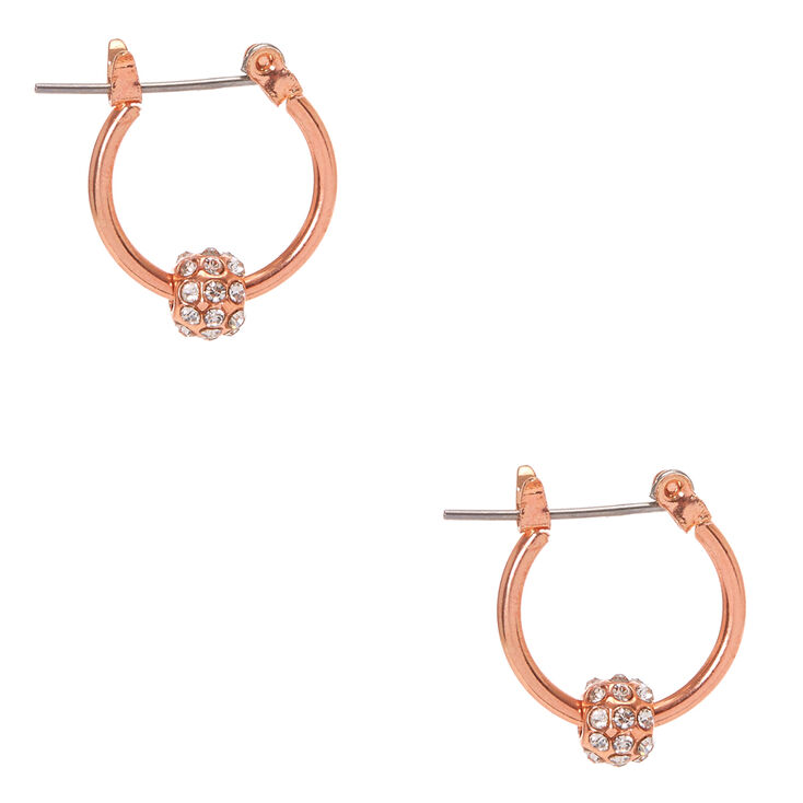 Rose Gold Tone Fireball Mini Hoop Earrings,