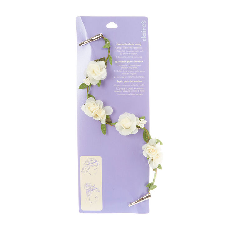 Ivory Flowers on a Vine Decorative Hair Swag,