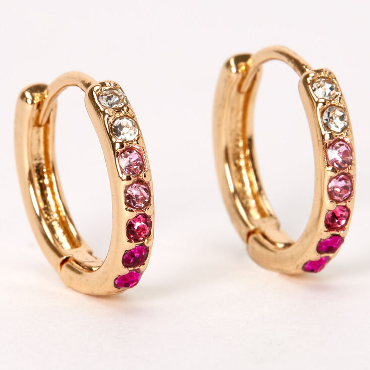 Gold 10MM Embellished Huggie Hoop Earrings - Pink,