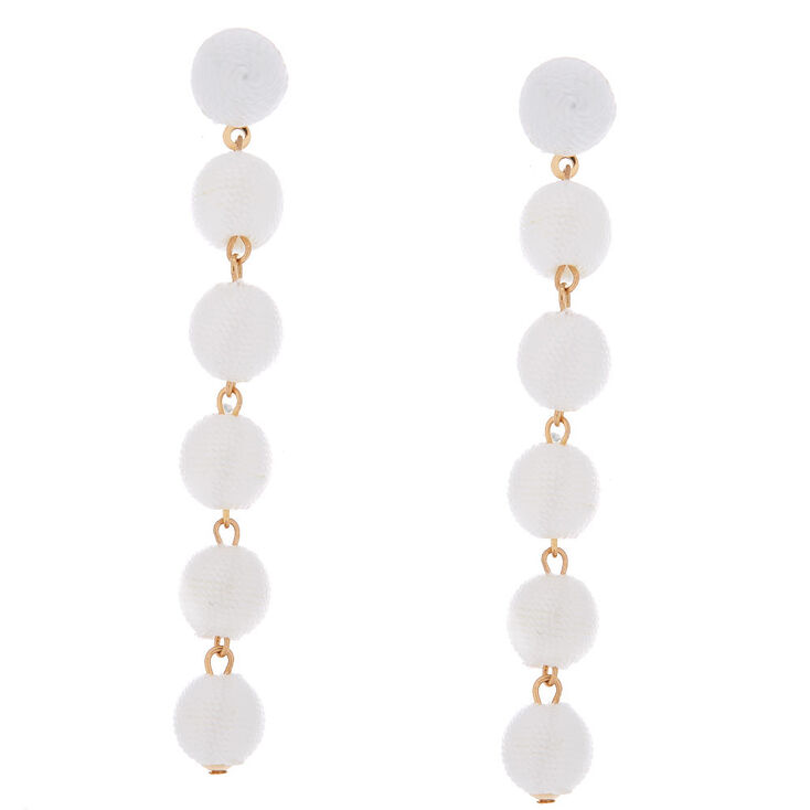 """3"""" Thread Wrapped Ball Drop Earrings - White,"""