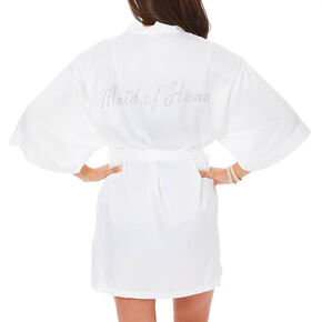 White Satin & Crystal Maid of Honor Robe,