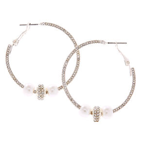 Embellished Hoop Earrings With Simulated Pearls,