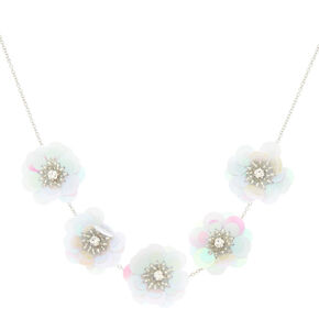 Holographic Flower Statement Necklace - White,