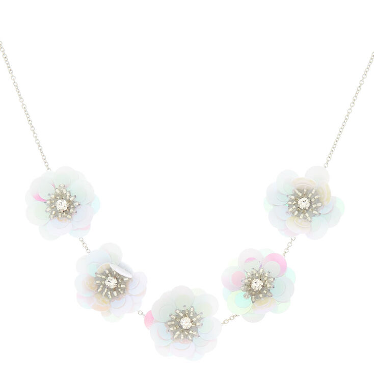 Holographic flower statement necklace white icing us holographic flower statement necklace white mightylinksfo