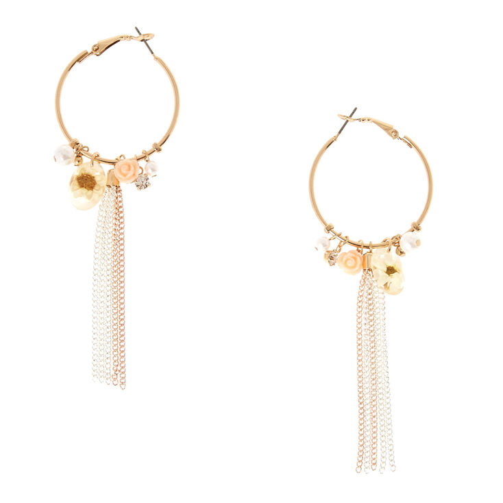 Gold Tone Feminine Charm Hoop Earrings,