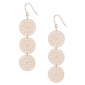 Gold 2.5 Filigree Circle Drop Earrings,