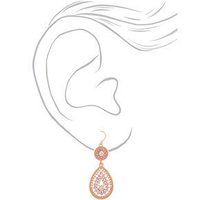 """Rose Gold 2"""" Teardrop Drop Earrings,"""