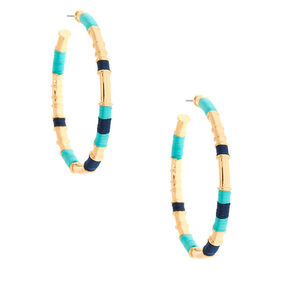 Gold 50MM Threaded Hoop Earrings - Mint,