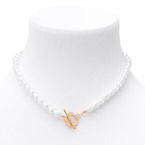 Gold Daisy & Pearl Toggle Clasp Necklace,
