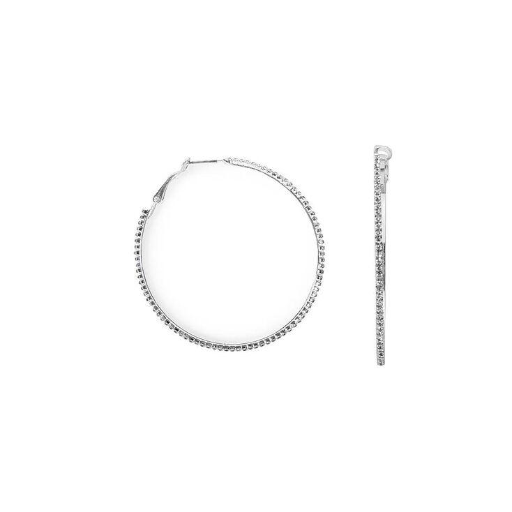 Thin Silver & Pavé Rhinestone Hoop Earrings,
