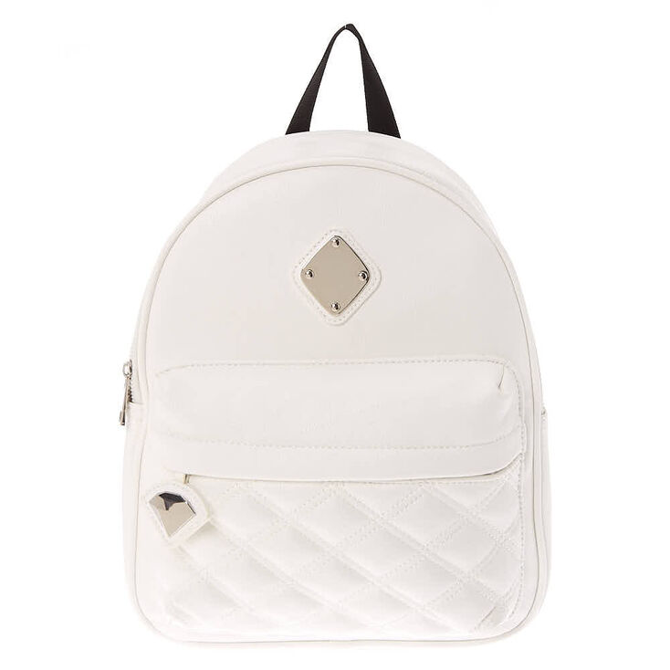 Faux Leather Quilted Medium Backpack - White,
