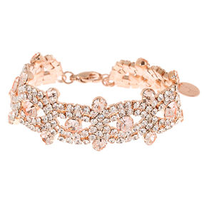 Rose Gold Rhinestone Infinity Statement Bracelet,