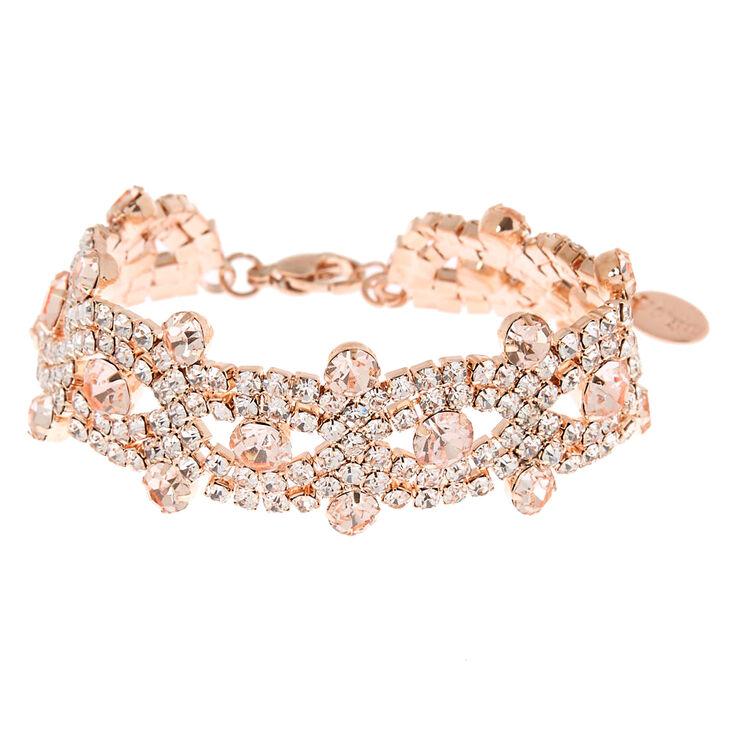 Rose Gold Rhinestone Infinity Statement Bracelet,