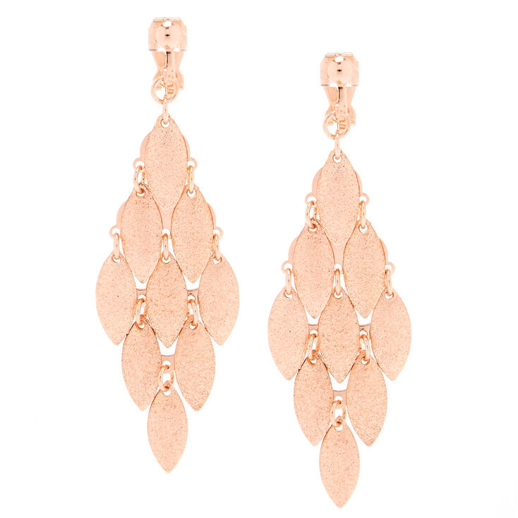 Rose Gold Clip On Drop Earrings,