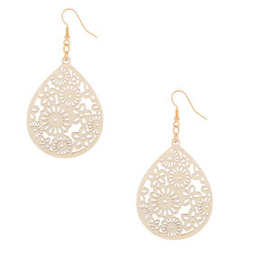 "Gold 2.5"" Floral Wooden Teardrop Drop Earrings - Cream,"