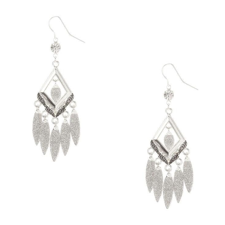 Silver Glitter Chandelier Drop Earrings,