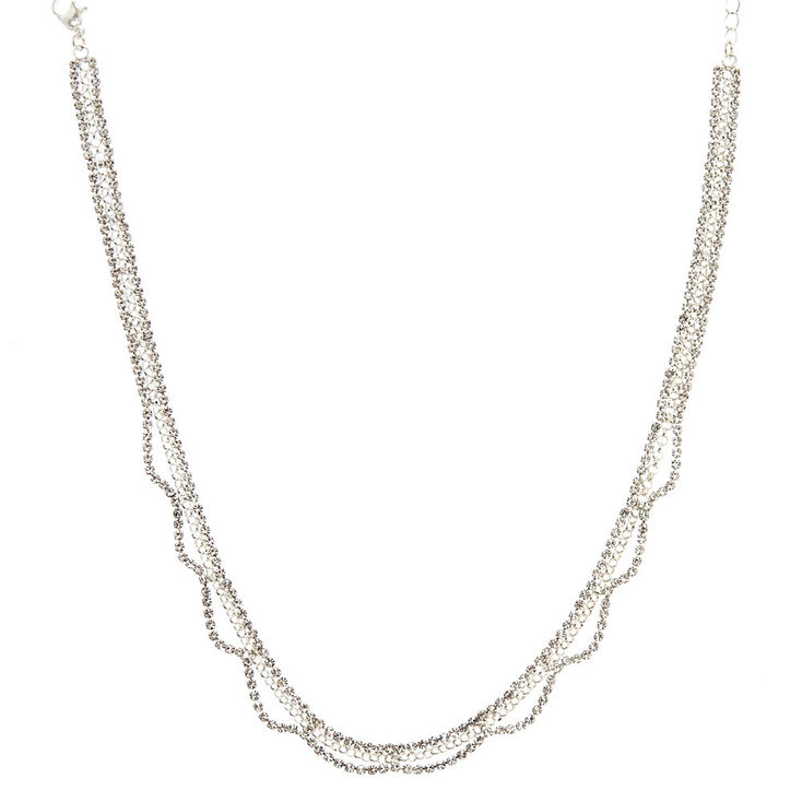 Crystal Wave Statement Necklace,