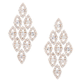 "Rose Gold Glass Rhinestone 2.5"" Chandelier Earrings,"