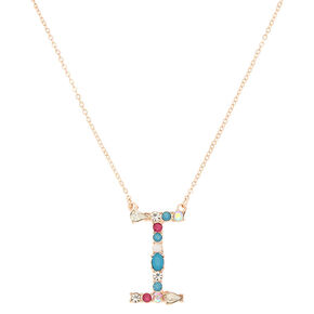 Embellished Long Initial Pendant Necklace - I,