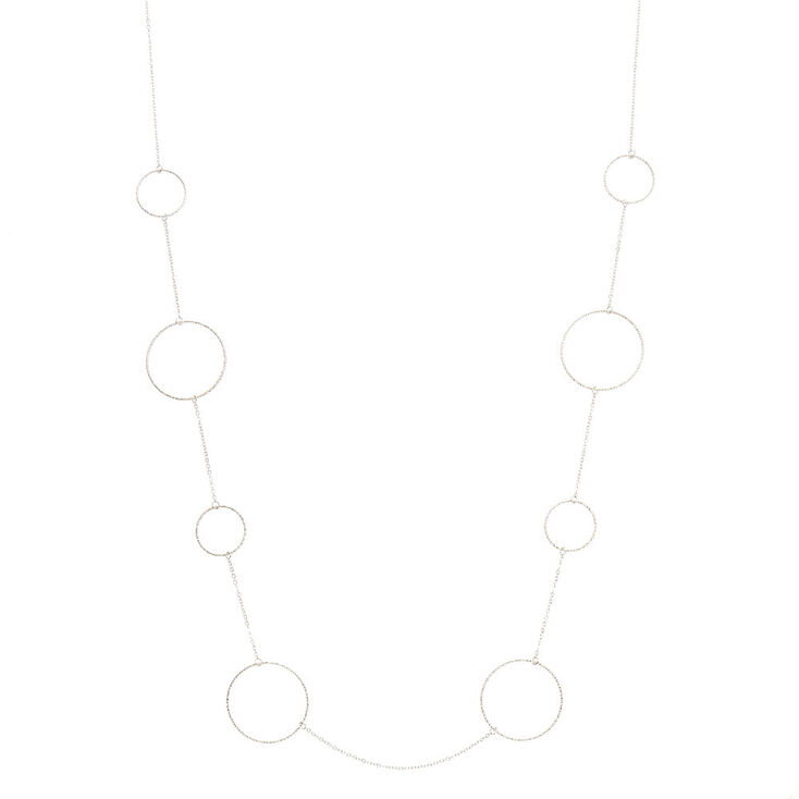 Silver-Tone Textured Hoop Necklace,