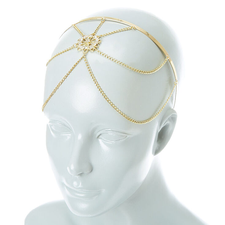 Gold tone Filigree Flower Headchain Headband,