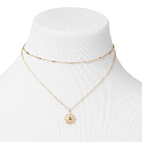 Gold Initial Medallion Multi Strand Necklace - A,